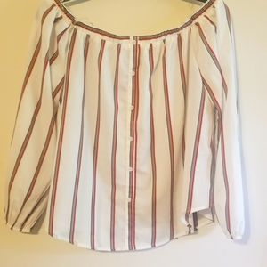 Off the shoulder stripped shirt